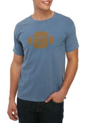Saturday Down South Men's Short Sleeve Tee Football Badge - Blue - Xl