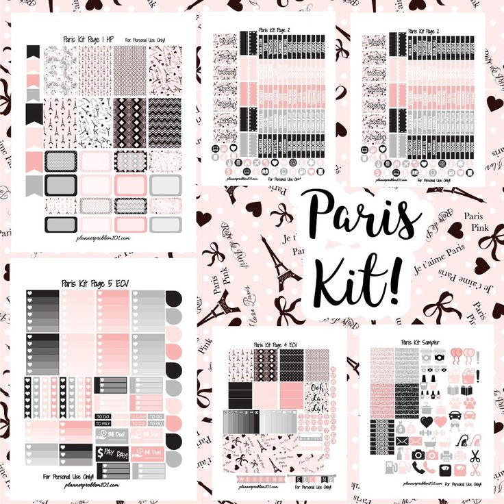 Free Printable Paris Planner Stickers Kit from Planner Problem 101