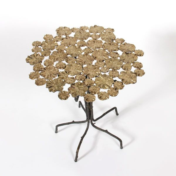 BOAZ TABLE-320245 - table flower top and twig legs in brass finish