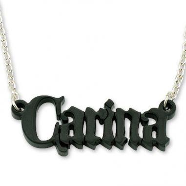 Personalize Acrylic Black Castle Name Necklace