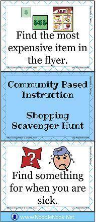 Best Task Card Set for Grocery Store (or flyer) Scavenger Hunt via NoodleNook.Net. Perfect for LIFE Skills classes!