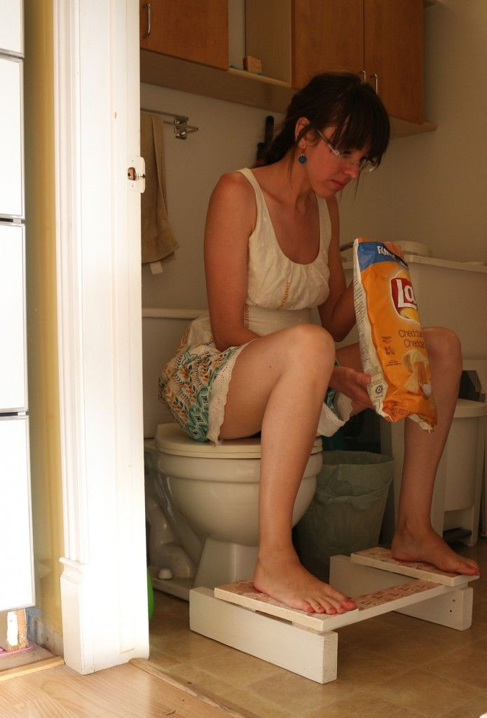 DIY Squatty Potty (linked).  Also read this great article around strengthening your pelvic floor and overcoming stress incontinence by Dr. Christine Northrup at http://www.drnorthrup.com/blog/2013/04/liberated-from-incontinence