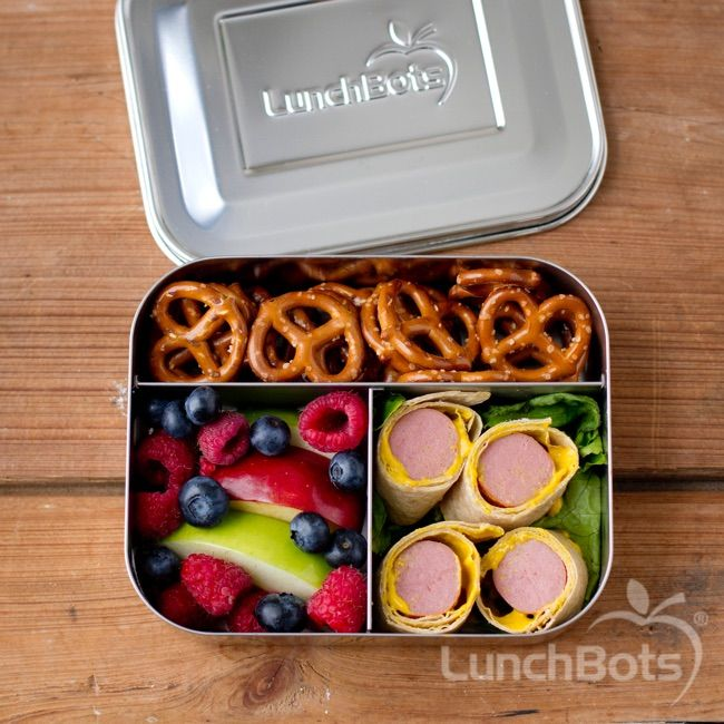 Hot dog rollups, fruit salad and pretzels in the LunchBots Trio. Back to school!