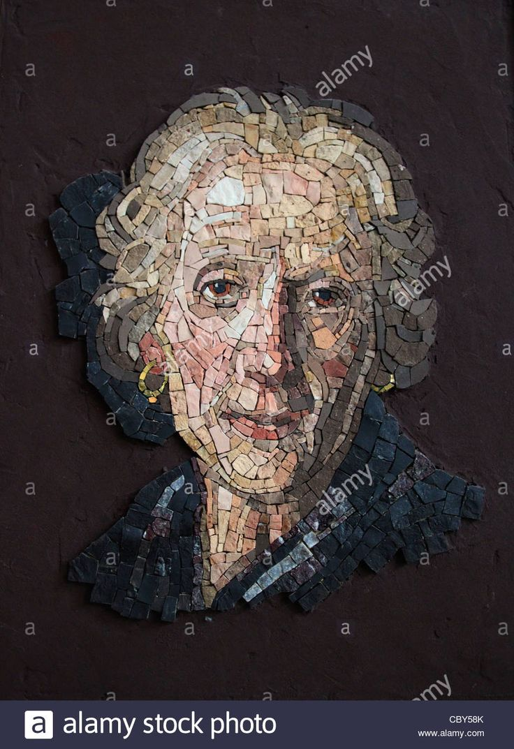 Interpretation of Sargent' s portrait of a woman - mosaic school in Spilimbergo, Italy. Stock Photo
