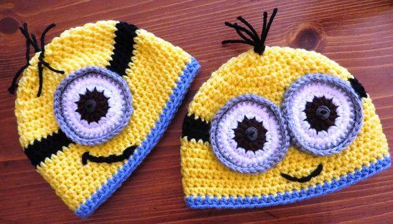 Crochet Minion Beanie Hat - All Sizes