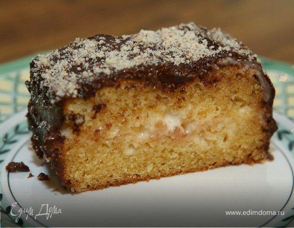 Бостонский пирог в шоколадной глазури. Ингредиенты: пшеничная мука, сахарный песок, шоколад | Кулинарный сайт Юлии Высоцкой: рецепты с фото