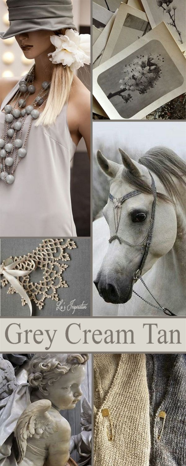 """Next up let's pin this color board of """" GREY CREAM AND TAN """"  Thank you for all the lovely pins today.  Happy Pinning. ❤ Lu"""