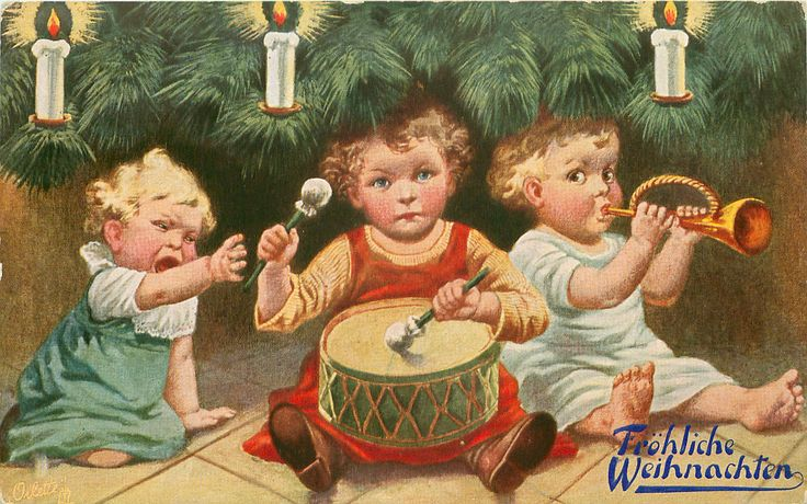 three children sit under candle lit tree, middle child drums, one on left cries other plays trumpet