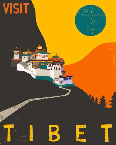 TIBET Travel Poster Retro Pop Artwork Giclee Fine by JazzberryBlue