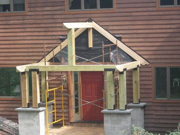 Timber porch designs timber frame porch eclectic for Timber frame porch addition