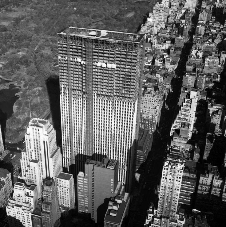 An aerial view of the General Motors building shows it under construction on Fifth Avenue and 59th St. in 1967. The Apple flagship store is currently at the base of the building.