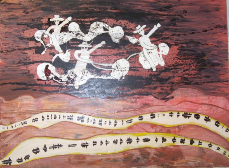 This acrylic on canvas painting is called Ghost Riders in the Sky, inspired by the Johny Cash version of the song.