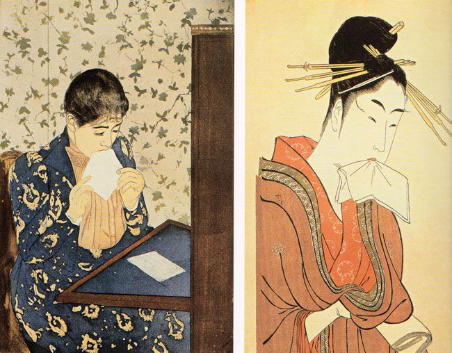 Charles Ricketts, Original design for The Mikado , 1926.  Kitagawa Utamaro, Lovers in an Upstairs room , 1788.   Pierre Bonnard,  Nursemaids...