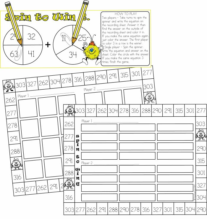 Addition with regrouping - 1 and 2 player games