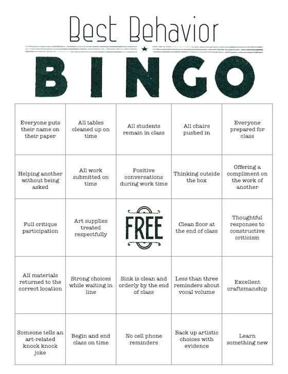 Best Behavior BINGO: Free Download