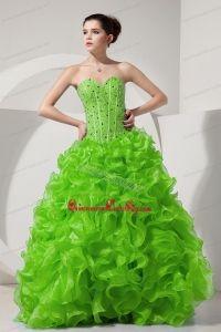 Spring Green A-line / Princess Sweetheart Floor-length Organza Beading Prom Dress