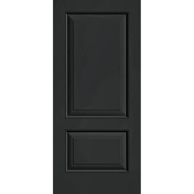Builder 39 s choice jet black 2 panel flush painted for Home depot fiberglass entry doors