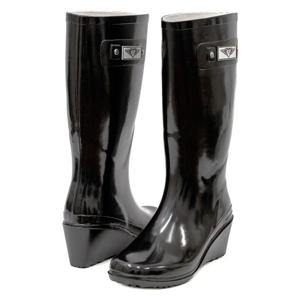Women's Forever young Wedge Rain Boots 6 LO ($30) ❤ liked on Polyvore featuring shoes, boots, black, boots & booties, black rubber boots, rain boots, wellies boots, wedges shoes and black boots