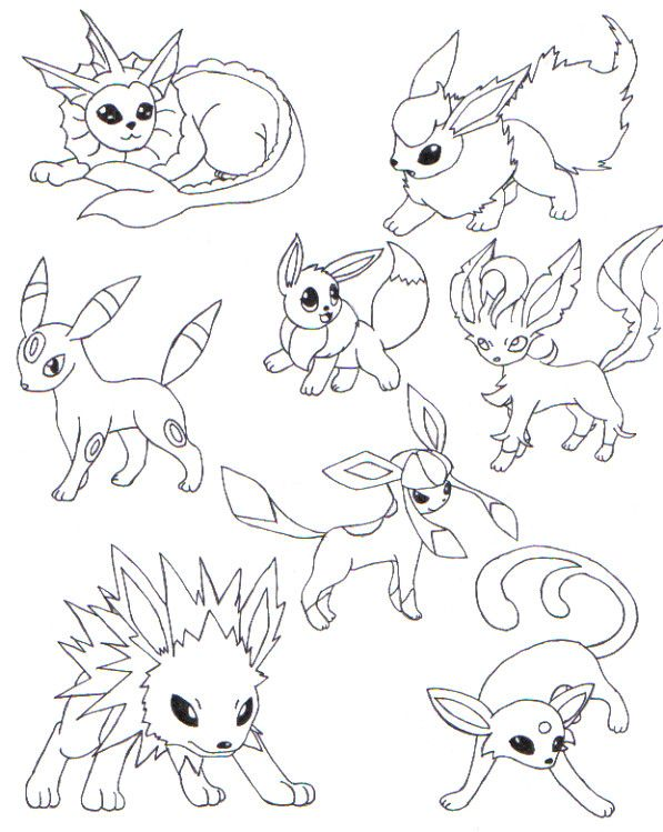 Eevee Evolutions Dress Up Coloring Coloring Pages