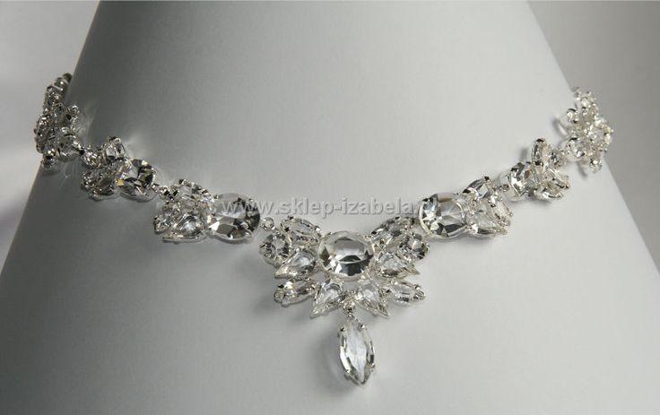 Naszyjnik z oryginalnymi kryształami do sukienki ślubnej lub wieczorowej