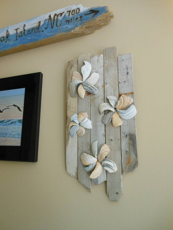 Seashell Driftwood Wall Art Sculpture Happy As A Clam Beach