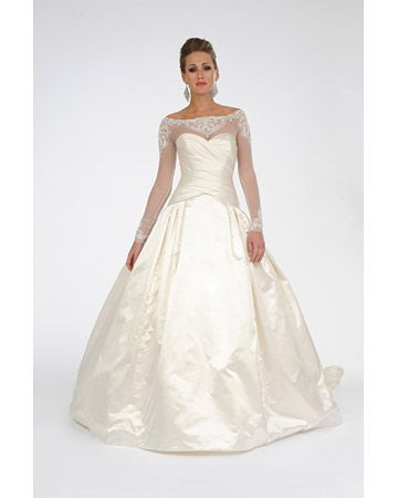 Ball gown with illusion lace long sleeves. Platinum for Priscilla of Boston. Love.