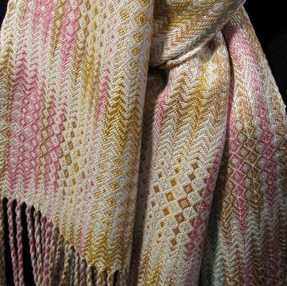 """Handwoven Scarf """"Waves of Pastel"""", Bamboo & Cotton"""