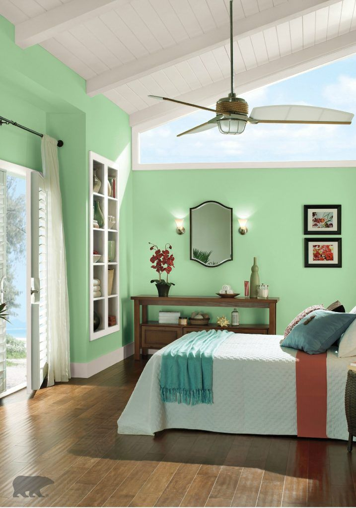 Cream Color Curtains With Mint Green Walls For Bedroom In 2020 Green Rooms Mint Green Walls Bedroom Paint Colors