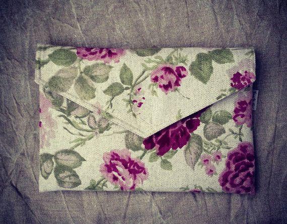 "13 inch MacBook PRO RETINA case, macbook sleeve, 13 inch laptop case, floral pattern, eco friendly - ""envelope rose garden"""