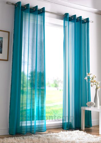 tan and teal living room | Voile Net Slot Top / Rod Pocket Curtain Panel | eBay