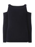 Womens Navy Cold Shoulder Jumper- Blue