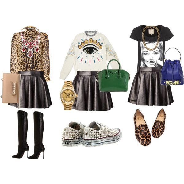 """3 ways to wear the leather skirt"" by norahabbal on Polyvore"