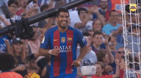 goal celebration hug fc barcelona messi high five lionel messi gol luis suarez suarez #fcbgif #humor #hilarious #funny #lol #rofl #lmao #memes #cute