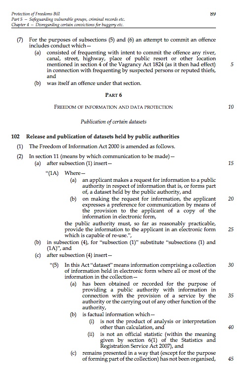 For once British Law precedes American law. The Freedom of Information Act is being amended to apply to requests for entire public data sets!