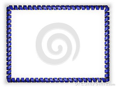 Frame and border of ribbon with the European Union flag, edging from the golden rope. 3d illustration.