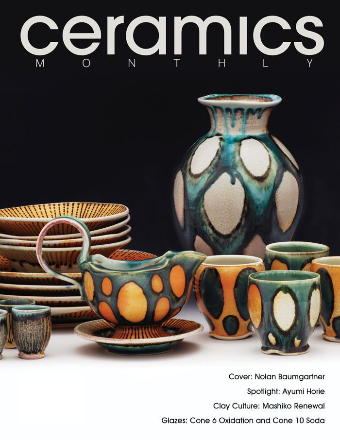Ceramics Monthly's December 2014 issue, featuring the work of Nolan Baumgartner on the cover. In this issue, the editorial staff asked five artists (including Baumgartner) a series of questions that covered both the practicalities of designing and making sets meant for use, and the ideas and experiences that inspire them. The artists also share details about their studio process along with slip and glaze recipes. http://ceramicartsdaily.org/ceramics-monthly/ceramics-monthly-december-2014/