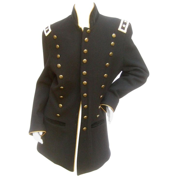 Black Wool Women's Military Style Jacket