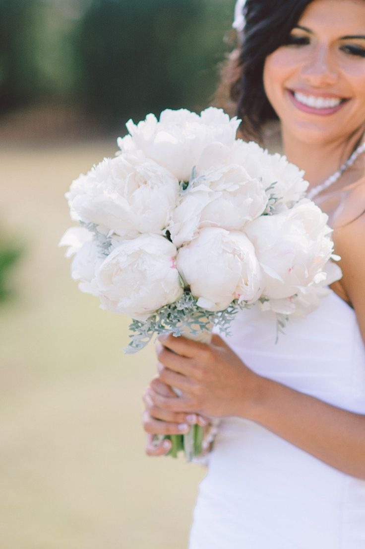 Pretty White Peony Bouquet | South Carolina Wedding from Pasha Belman and Stunning  Brilliant Events |   Read more - http://www.stylemepretty.com/little-black-book-blog/2013/08/14/south-carolina-wedding-from-pasha-belman-and-stunning-brilliant-events/