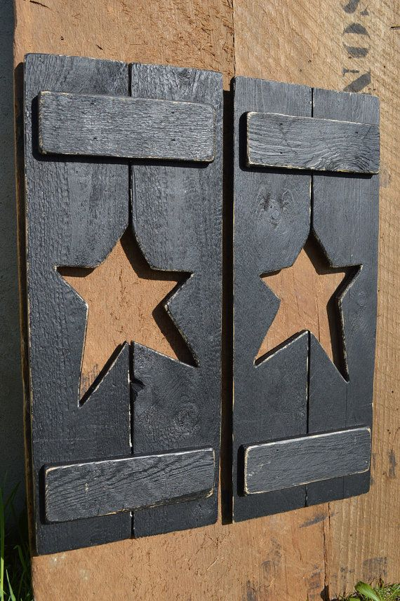 Primitive Country Decor Pair Of Handmade Wooden Shutters Painted Black With A Rustic Star Cut Out In The Center