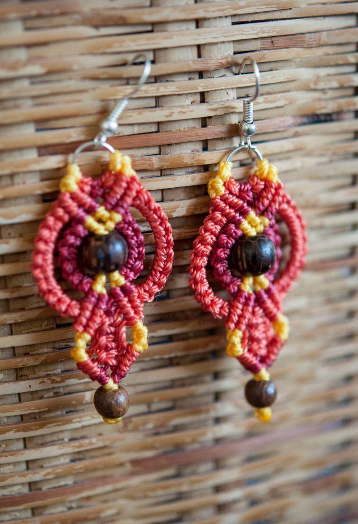 Macrame orange earrings with wooden beads by AmberSkyeboho on Etsy