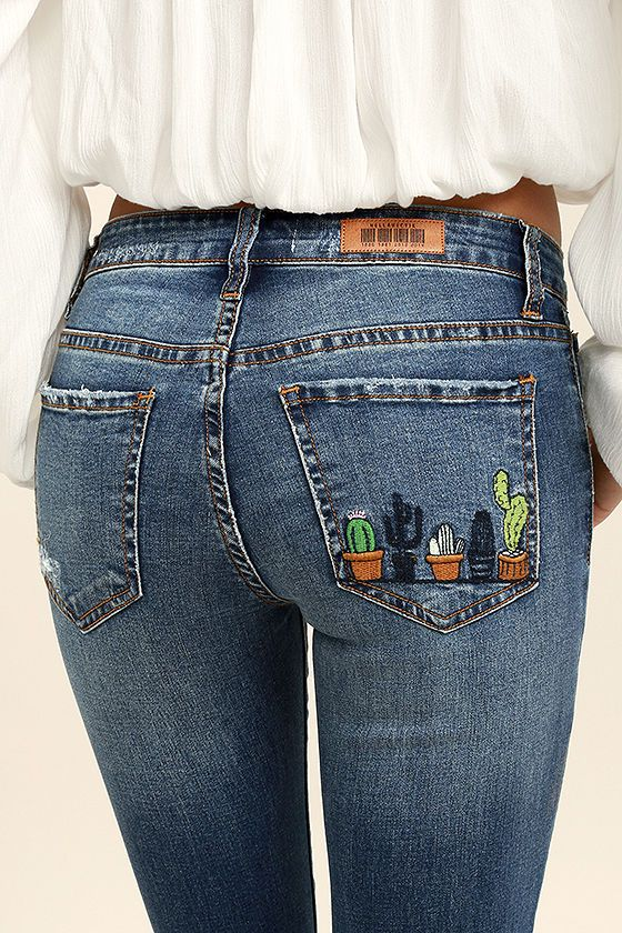 Cacti On You Medium Wash Embroidered Skinny Jeans