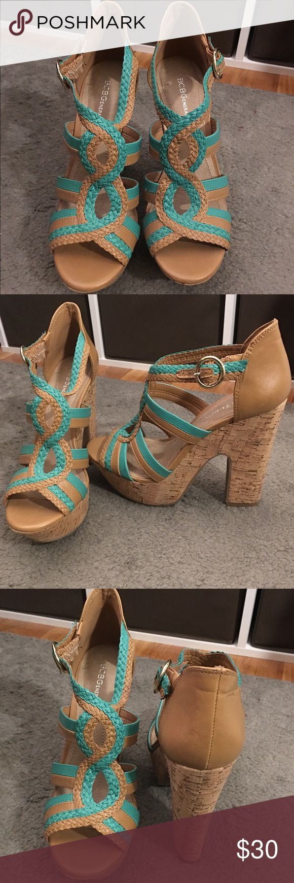 BCBGeneration chunky cork heels NWOT!! Tan and teal wedges with chunky cork heel and buckle strap super fun for summer!! BCBGeneration Shoes Wedges
