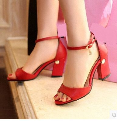 Women new spring Summer fashion genuine leather thick heels high-heeled open toe sandals buckle shoes plus size 40-41