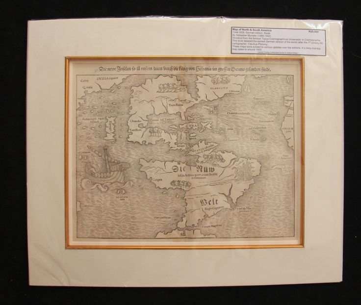 Map of North and South America by Sebastian Munster ca 1600.  From the Typus Cosmographicus Universalis