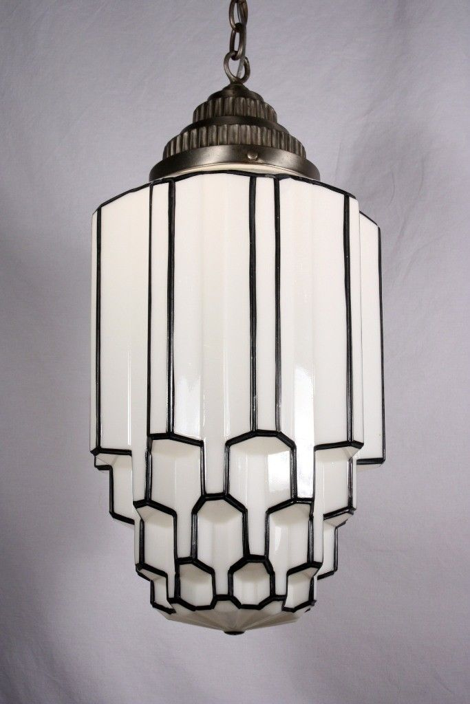 Amazing Antique Art Deco Pendant Light with Skyscraper Globe, c. 1930's - Preservation Station, Nashville, TN