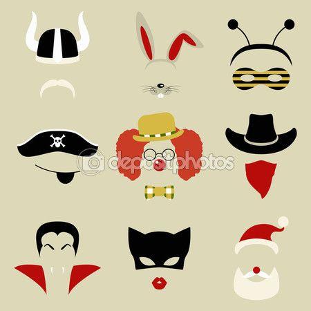 Baixar - Festa retrô definido para foto cabine e scrapbooking - viking, coelho, abelha, pirata, palhaço, vaqueiro, Drácula, gato, Papai Noel — Ilustração de Stock #64012641