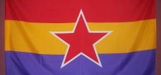 Bandera Republicana con estrella del Ejercito Popular,  Dimensiones aproximadas 140X82.cm, calidad media, material poliéster, peso aproximado 85 gramos.