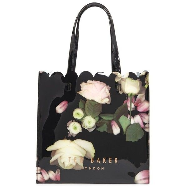 Women's Ted Baker London Large Coracon Kensington Floral Tote ($59) ❤ liked on Polyvore featuring bags, handbags, tote bags, black, handbags totes, ted baker tote bag, floral handbags, beach tote bags and ted baker handbags