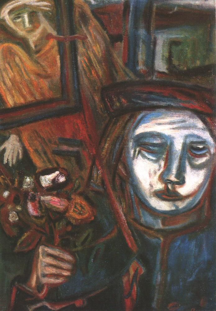 Self-Portrait with an Angel Shooting Through by Imre Ámos (1907~1944/45) | He was elected to be a member of the New Society of Artists, and spent his summers in Szentendre and worked there. He visited Paris in 1937 where he met Chagall. Ámos became a member of the National Salon in 1938. In 1940 he was taken to labour camp in Vojvodina, then to the battle field in the east, and in 1944 he was deported to Germany, where he died, probably in a concentration camp in Saxony...