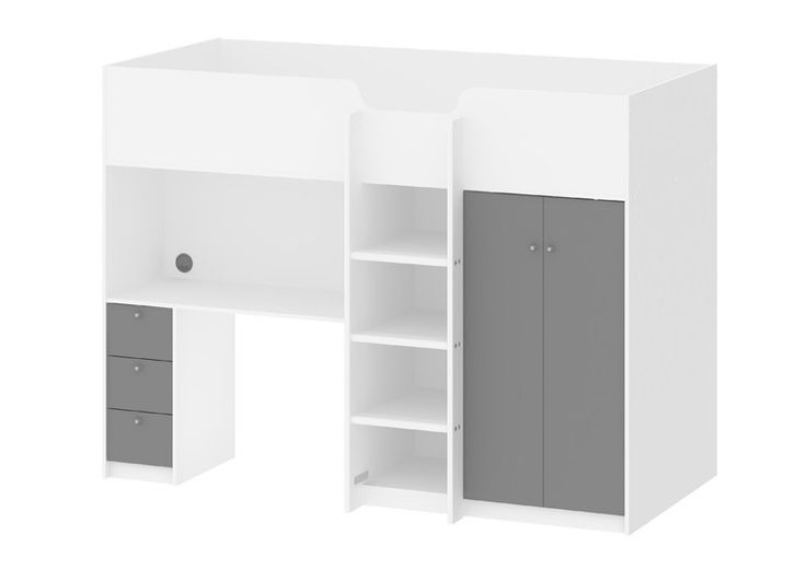"""Lyon Børneseng - Hvid/Grå - Smart multifunktionel køjeseng, som rummer både skrivebord og garderobeskab såvel som seng og opbevaringsmuligheder. Køjesengen har et moderne design med den hvide farve, som er kombineret med grå flader på låger og skuffer. Det funktionelle møbel passer perfekt til """"small space living""""."""